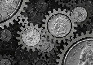 Grunge gear coin of dollar