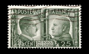 wartime Italian mail stamp featuring Hitler and Mussolini