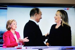 PARIS FRANCE - JULY 07 2014: First appearance of Hilary Clinton on national French television channel TF1 after meeting Vladimir Putin Russian President